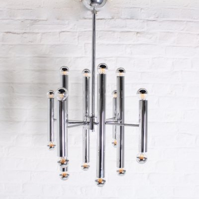 Chrome steel pendant lamp by Gaetano Sciolari for Boulanger, 1960's