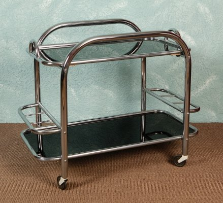 Wheeled bar with black opaline trays, 1940s