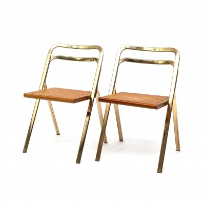 Set of 2 folding chairs by Giorgio Catellan for Cidue, Italy 1970s