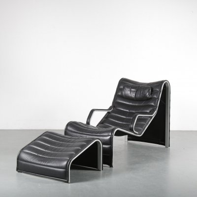 Eric Sigfrid Persson Lounge Chair with Ottoman for Möbelkultur AB, Sweden, 1970s