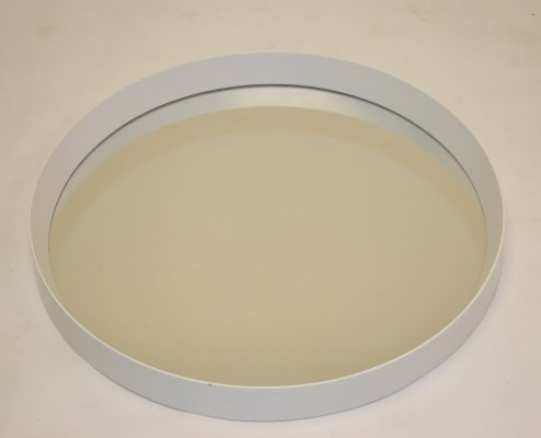 Round mirror with white edge, 1960s