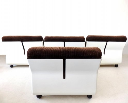 Set of 4 brown 'Amanta' lounge chairs by Mario Bellini for C&B Italia, 1970s