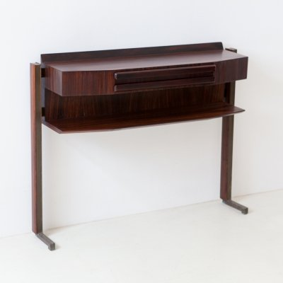 Italian Midcentury Modern Rosewood & Brass Console Table, 1950s