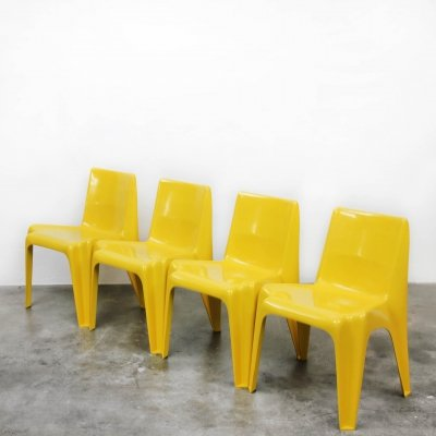 Set of 4 Model No. BA1171 dining chairs by Helmut Bätzner for Bofinger, 1960s