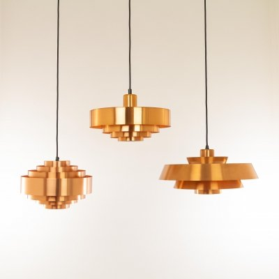 Copper Nova, Ultra & Roulet pendants by Jo Hammerborg for Fog & Mørup