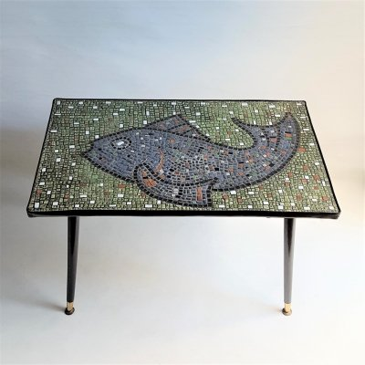 Vintage mosaic fish coffee table, 1950s