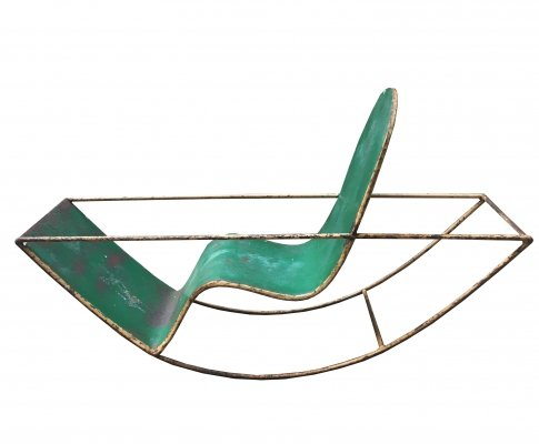 1950's Extremely Rare Green Metal Child Rocker, Italy