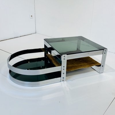 Coffee Table Willy Rizzo in Steel & Cow hide, 1970s