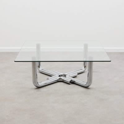 70's design chrome & glass coffee table