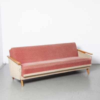 Two-tone red & cream sofa bed
