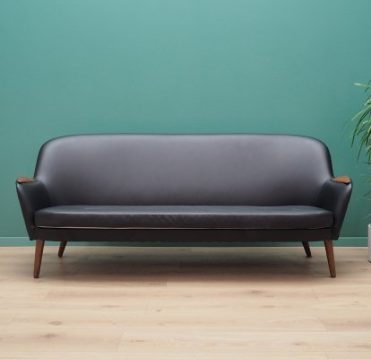 Vintage Sofa in black leather, Denmark 1970's