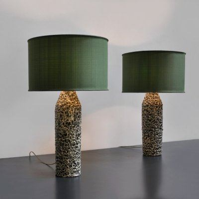 2 large decorative ceramic table lamps by Iparmüveszeti Vallalat, Hungary 1960