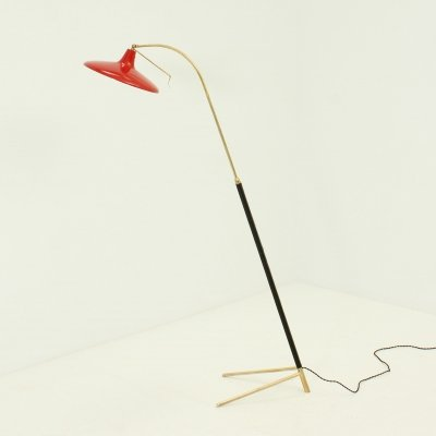 Adjustable Floor Lamp in Brass & Leather, Italy 1950's