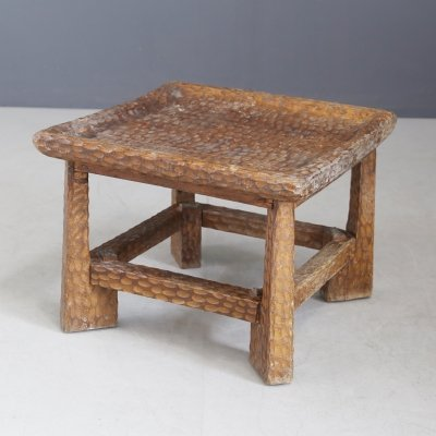 Jean Touret Low carved wooden coffee table, 1950s