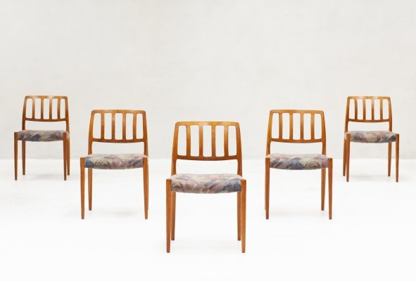 Set of 5 Model 83 dining chairs by Niels O. Møller for J.L. Møller, 1960s