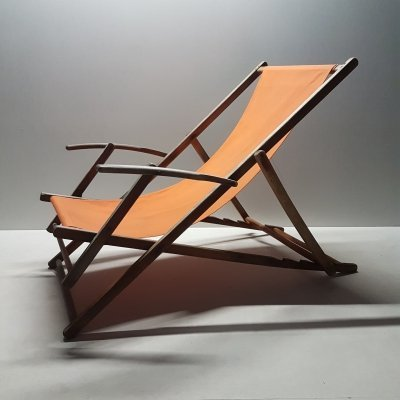 Mid-Century adjustable folding beach lounge chair, 1950s