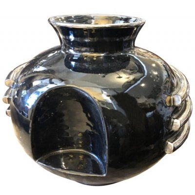 Art Deco Black & Silver Ceramic Italian Vase by Deruta, circa 1930