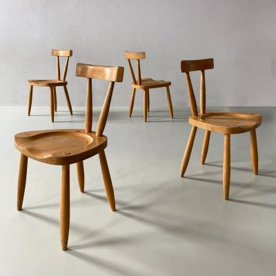 Set of 4 Mid Century / Brutalist Dining Chairs, 1950s