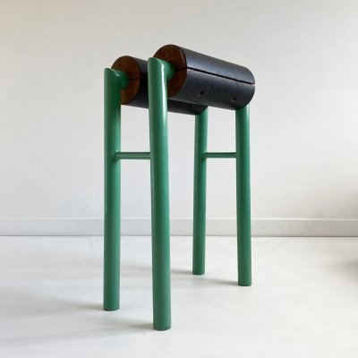 Tubular Steel, Leather & Wood Memphis style Stool, Italy c.1980