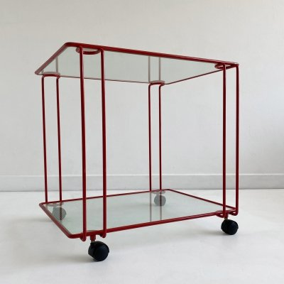 Postmodern Metal & Glass Trolley / Étagère, Sweden c.1980