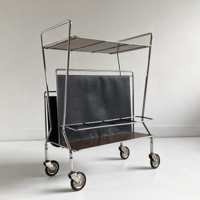 Chromed Wire Bar Cart / Side Table, c.1970