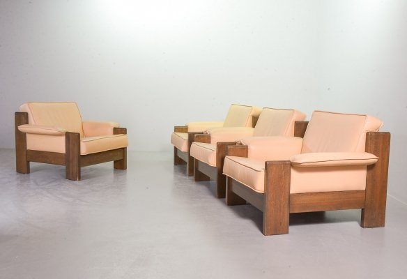 4 Leolux Camel Colored Leather & Oakwood Lounge Chairs by Harry de Groot, 1970