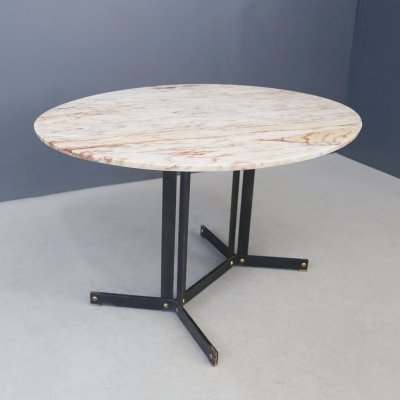 Ignazio Gardella Mid Century oval table in Calacatta pink marble, 1950s