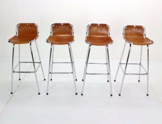 Set of 4 Leather 'Les Arcs' Barstools selected by Charlotte Perriand, 1960s