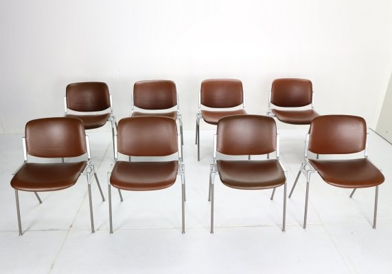 Set of 8 Giancarlo Piretti for Castelli 'DSC 106' Dining Chairs, Italy 1960s