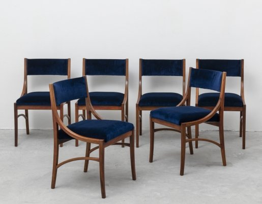 Ico Parisi set of 6 Blue Velvet Chairs for Spartaco Brugnoli, 1960s