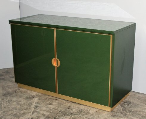 Italian enameled Emerald Green cabinets with brass details, 1970