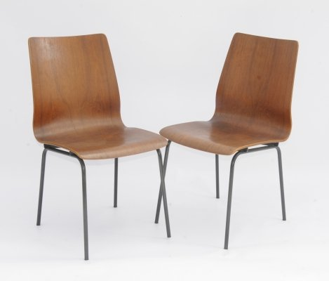 Pair of plywood 'Euroika' chairs by Friso Kramer for Royal Auping, the Netherlands 1960's