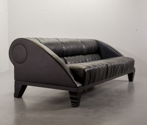 Giorgetti 3-Seat 'Aries' Sofa in Full Black Leather Designed by Leon Krier