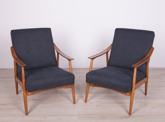 Pair of Czech Black Armchairs, 1960s