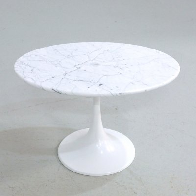 Tulip side table with marble top by Maurice Burke for Arkana, 1970s