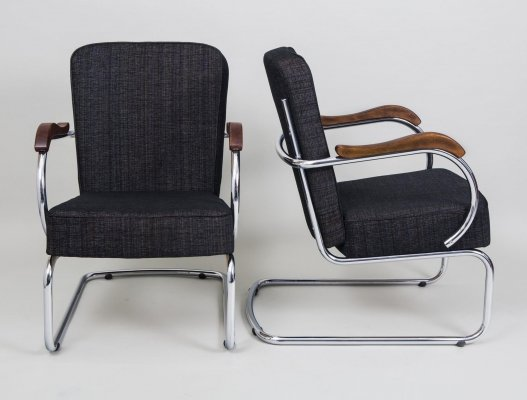 Pair of Chrome Tubular Armchairs by Kovona, 1960s