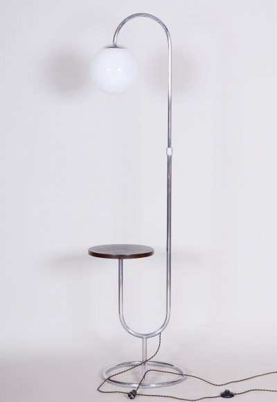 Early 20th Century Chrome & Milk Glass Floor Lamp by Hynek Gottwald, 1930s