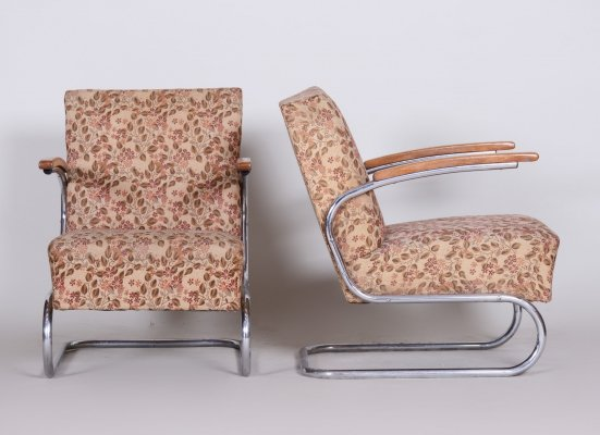 Pair of Bauhaus Tubular Chrome Armchairs by Mücke Melder, 1930s