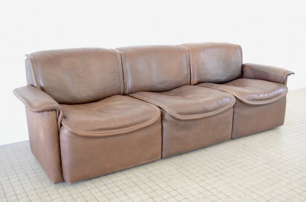 De Sede ds 12 brown leather 3 seater sofa, 1970s