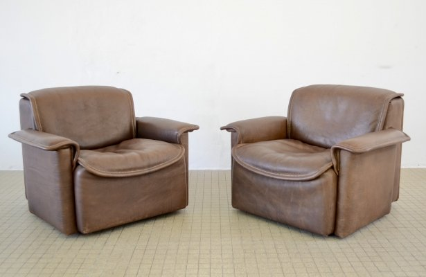 De Sede DS 12 brown leather armchairs, 1970s