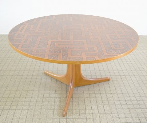 Midcentury copper & teak coffee table, 1960s