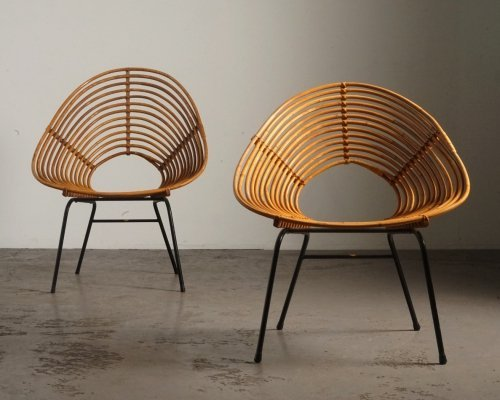 Spiral rattan chairs by H. Broekhuizen for Rohé Noordwolde, 1960s