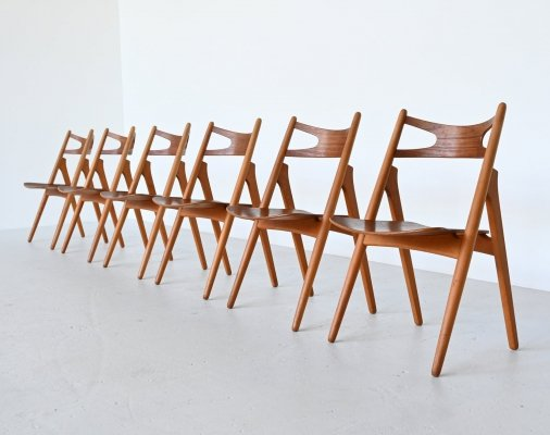 Set of 6 Hans Wegner CH29 Sawbuck dining chairs by Carl Hansen & Son, Denmark 1952