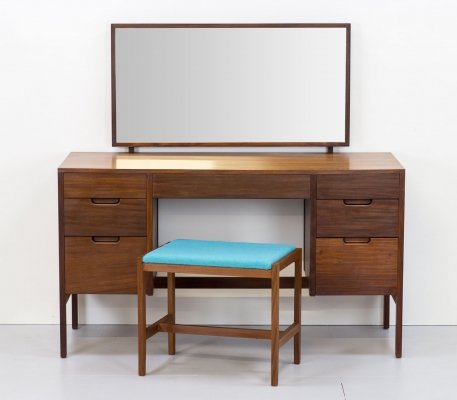 1960s Afromosia Dressing Table/Desk by Richard Hornby & Stool by Vanson