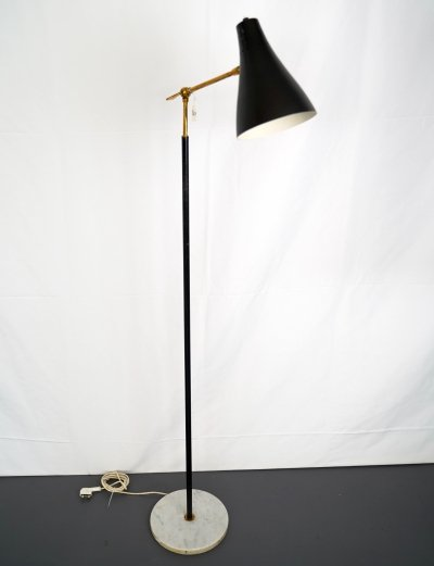Mid-century Italian brass & marble adjustable floor lamp by Stillovo, 1950s