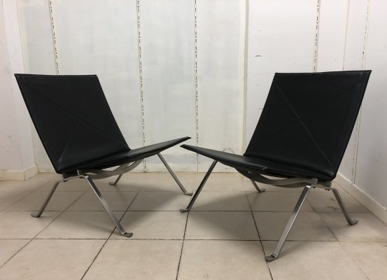 Pair of 'PK22' Easy Chairs by Poul Kjaerholm for Fritz Hansen, 1980s