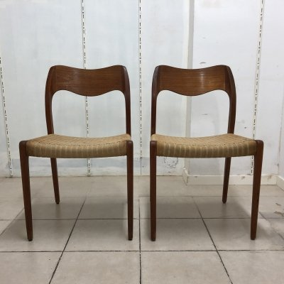 Pair of 'Model 71' Chairs by Niels O. Møller for J.L. Møllers Møbelfabrik, 1960s