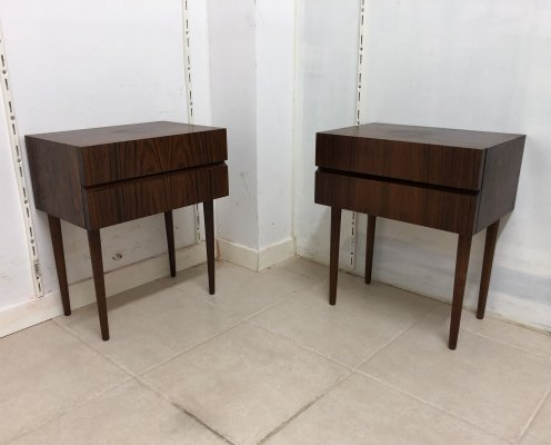 Danish Pair of Rosewood Bedside Tables, 1950s