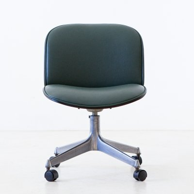 Green Skai Swivel Desk Chair by Ico Parisi for MIM Roma, 1950s