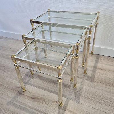 Gold & silver plated Orsenigo nesting tables with glass top